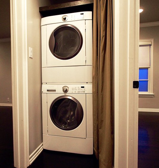 every apartment has a washer and dryer in the hallway